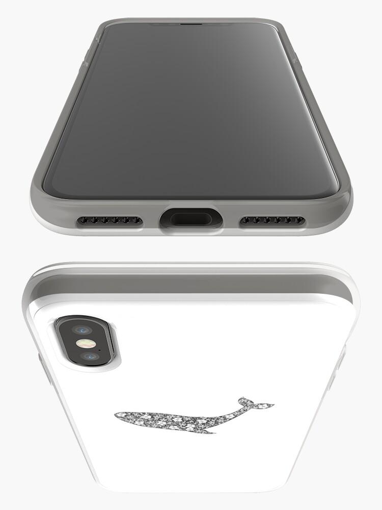 Alternative Ansicht von Schattenbild des Wals mit Blumenverzierung iPhone-Hülle & Cover