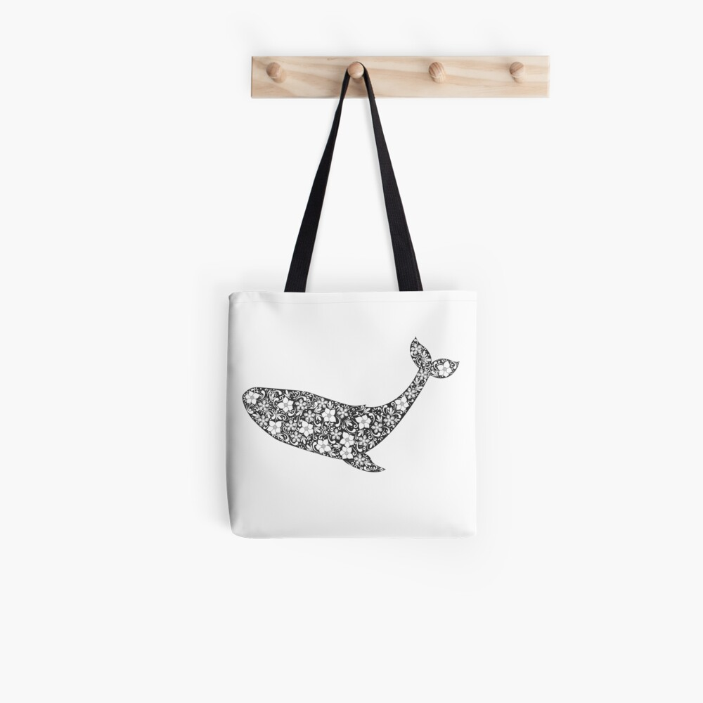 Schattenbild des Wals mit Blumenverzierung Stofftasche