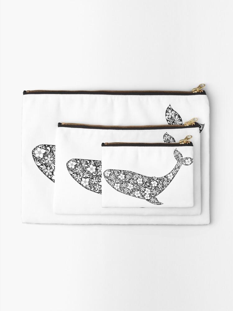 Alternative Ansicht von Schattenbild des Wals mit Blumenverzierung Täschchen