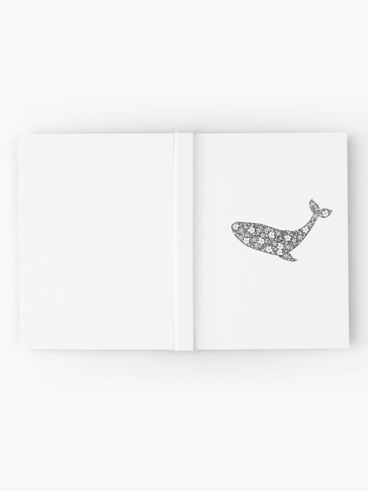 Alternative Ansicht von Schattenbild des Wals mit Blumenverzierung Notizbuch