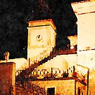Borrello: bell tower at night by Giuseppe Cocco