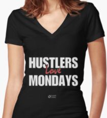 Hustlers Love Mondays Women's Fitted V-Neck T-Shirt