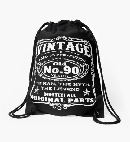 Vintage Aged To Perfection 90 Years Old Drawstring Bag