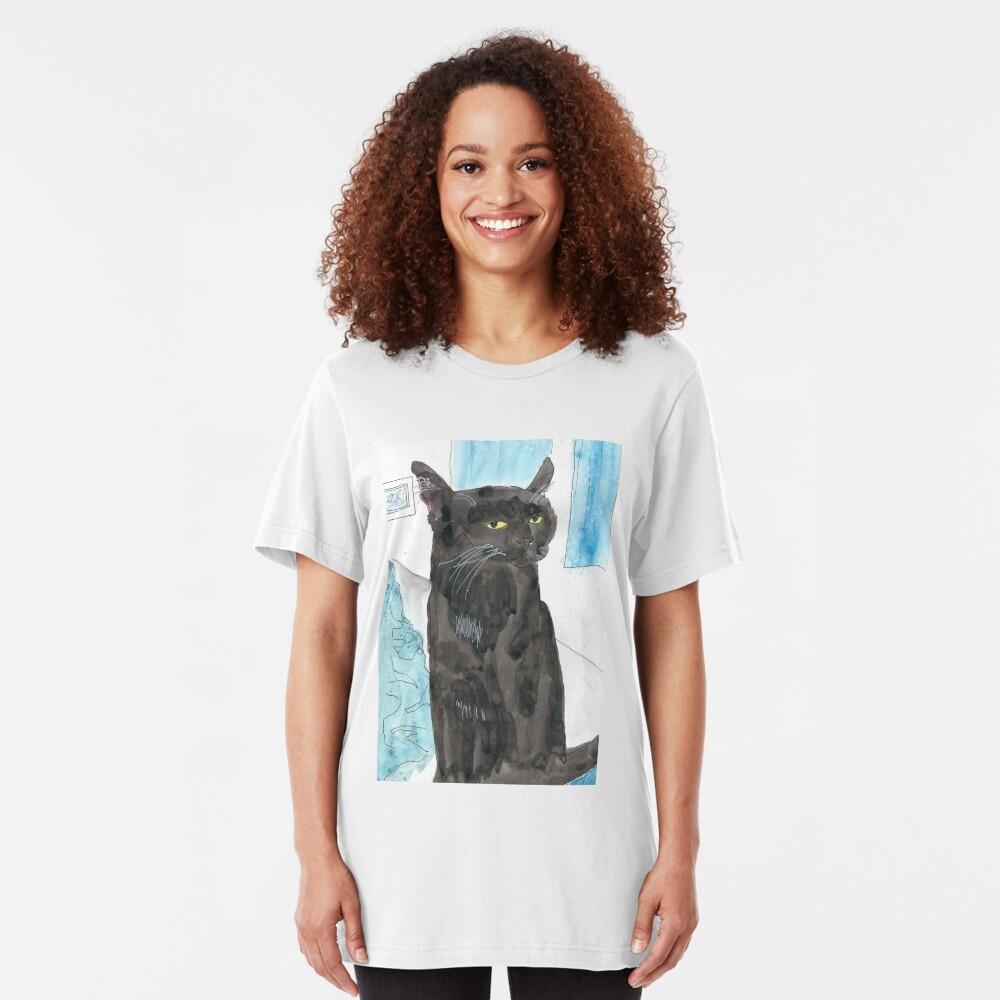 Davy Crockett, Cool Black Cat Slim Fit T-Shirt