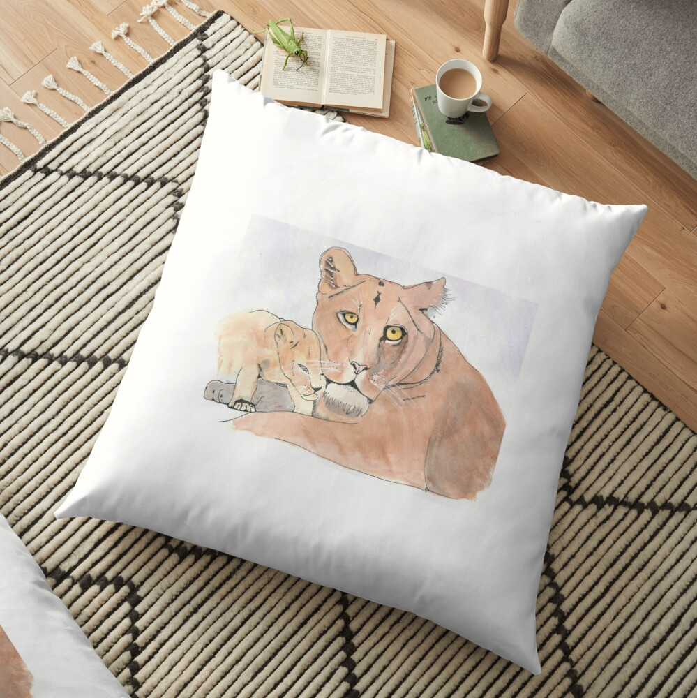 Lion and Cub Floor Pillow