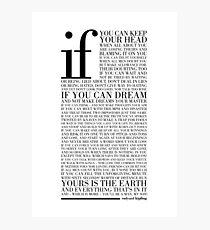 If by Rudyard Kipling (Black) Photographic Print