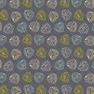 Fun Leaves with Gumnuts Grey by Gina Rollason