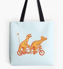 Cycling raptors on tandem bicycle Tote Bag