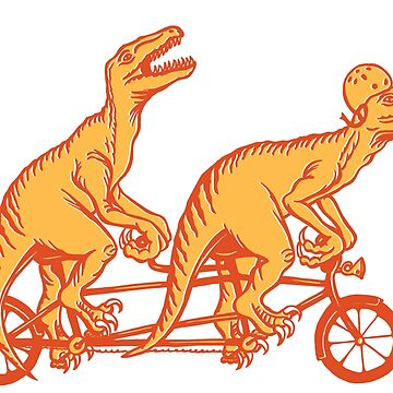 Cycling raptors on tandem bicycle by amelielegault