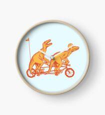 Cycling raptors on tandem bicycle Clock