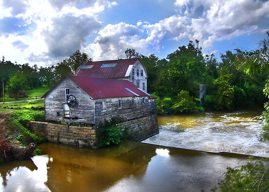 """""""Old Green Mill,  At Falls Of The Rough, Kentucky"""" by Melinda Stewart Page"""