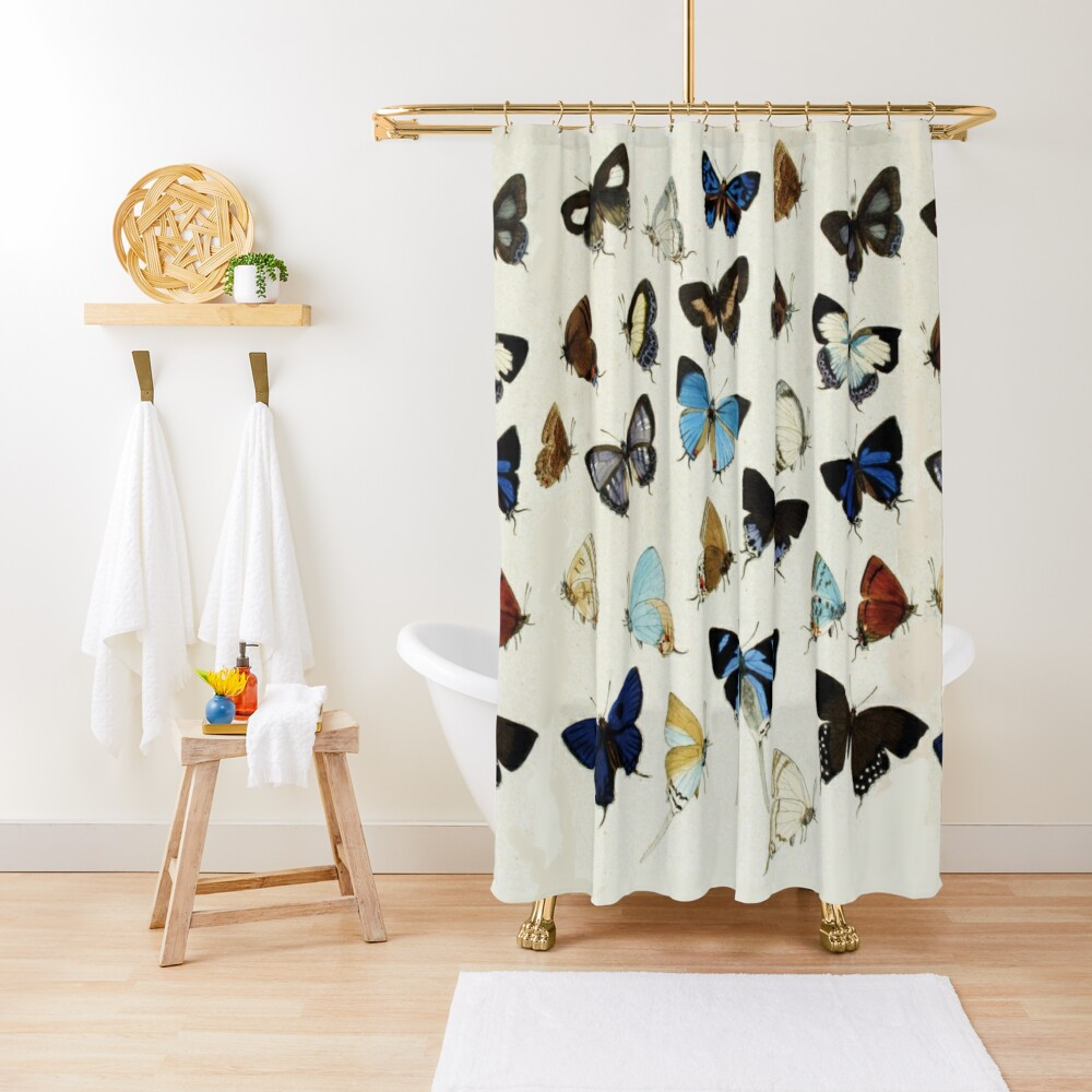 COLORFUL BUTTERFLIES Blue White Beauty Nature Collection Shower Curtain