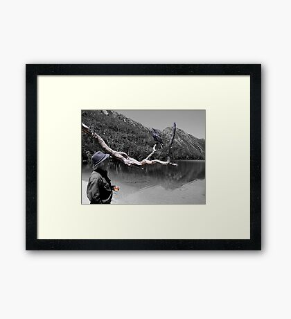 A bird in the hand Framed Print
