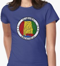 ALABAMA STATE SEAL - POPULAR DISTRESSED STATE DESIGN WITH ALABAMA STATE SEAL Women's Fitted T-Shirt