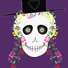 Starry Eyed Skull with Flowers in Hair by Melissa J Barrett