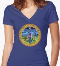 IOWA STATE SEAL - POPULAR DISTRESSED STATE DESIGN WITH IOWA STATE SEAL Women's Fitted V-Neck T-Shirt