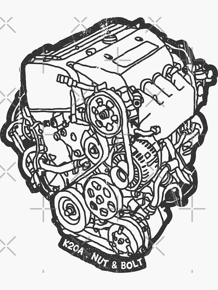 Honda Civic Type R Ep3 K20a Engine Sticker By Nutandbolt