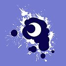 Lunar Splat (white paint, violet background) by RiftwingDesigns