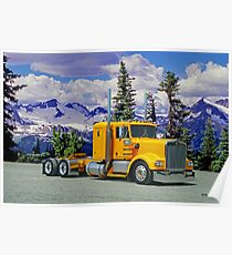 Old Yellow Kenworth in the Rockies Poster