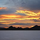 Sunset At Bonneville Salt Flats by Len Bomba