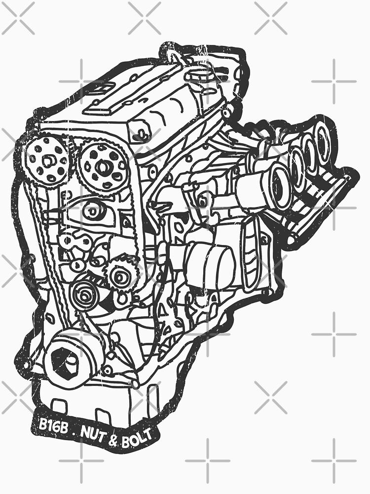 Honda Civic Type R Ek9 B16b Engine Classic T Shirt By Nutandbolt