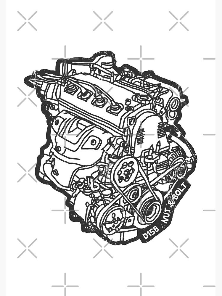 Honda Civic Vti Crx D15b Engine Canvas Print By Nutandbolt