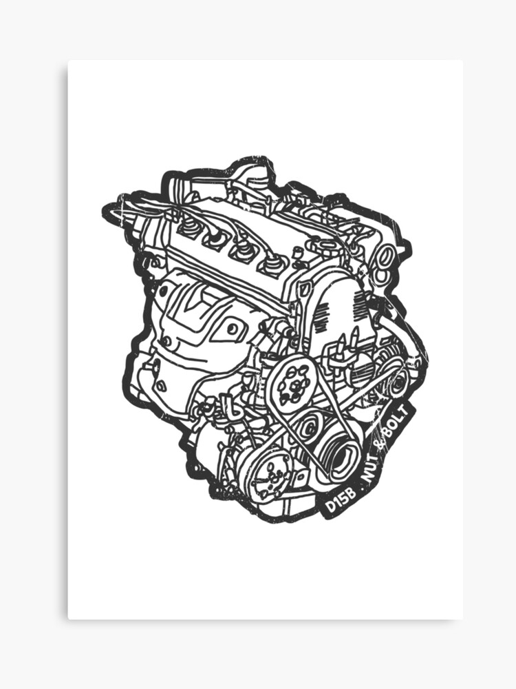 Honda Civic Vti Crx D15b Engine Canvas Print By Nutandbolt