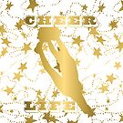 Cheer Life Design in Gold with Stars by PurposelyDesign