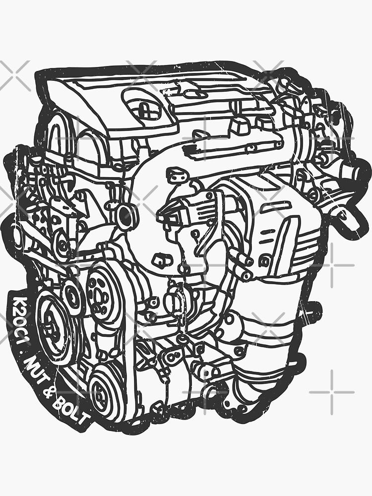 Honda Civic Type R Fk2 K20c1 Engine Sticker By Nutandbolt