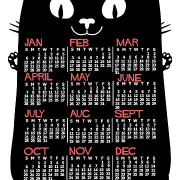 2019 Year Monthly Calendar Mid-Century Black Cat by emkayhess