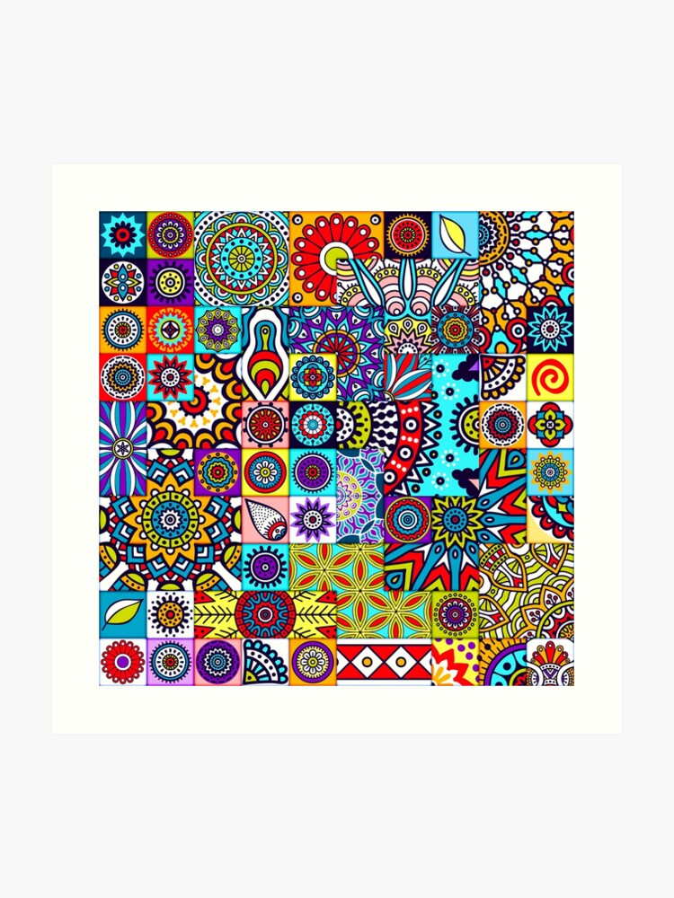 African Print Patchwork Ethnic Geometric Floral Design Colorful Patterns |  Art Print