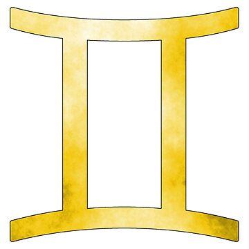 Gemini Zodiac Symbol (Yellow) by bigbadbear