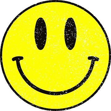 Smiley Face Cute Happy Funny Emoji Yellow Distressed by decentdesigns