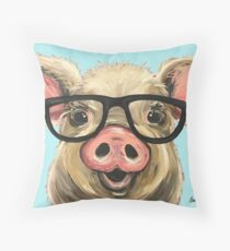 Cute Pig Art, Pig with Glasses Throw Pillow