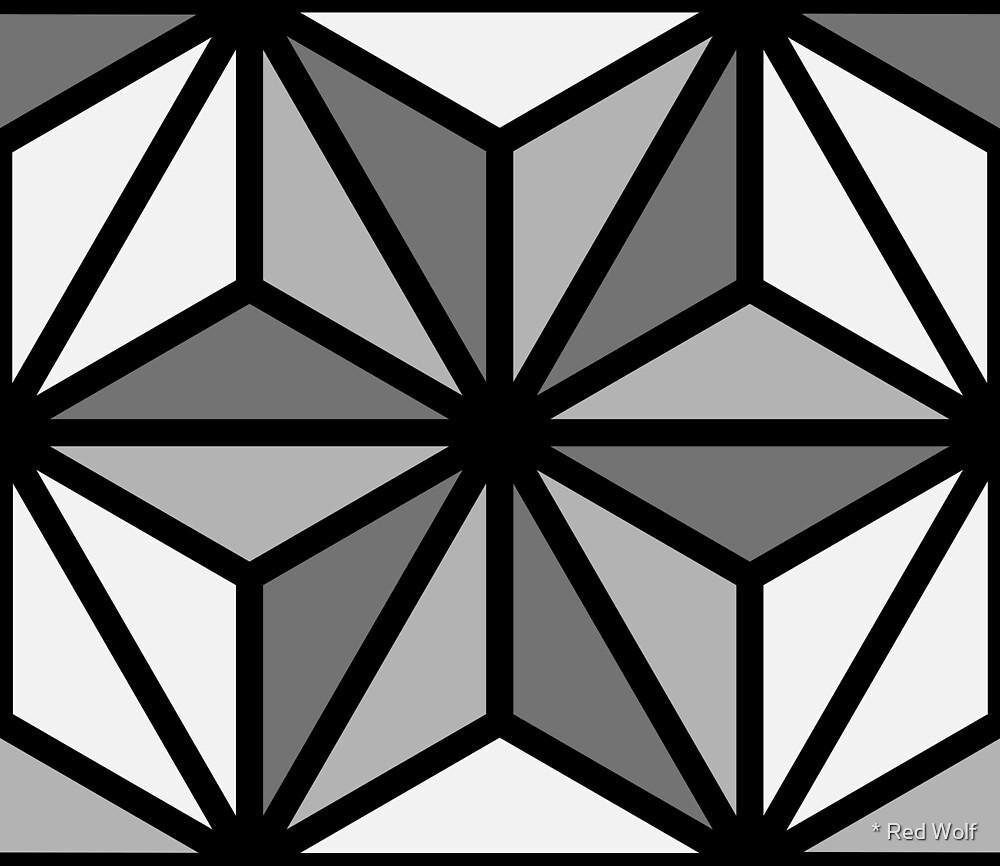 Geometric Pattern: Art Deco Star: Monochrome by * Red Wolf