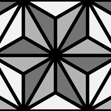 Geometric Pattern: Art Deco Star: Monochrome by redwolfoz