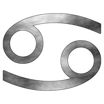 Cancer Zodiac Symbol (White and Silver) by bigbadbear