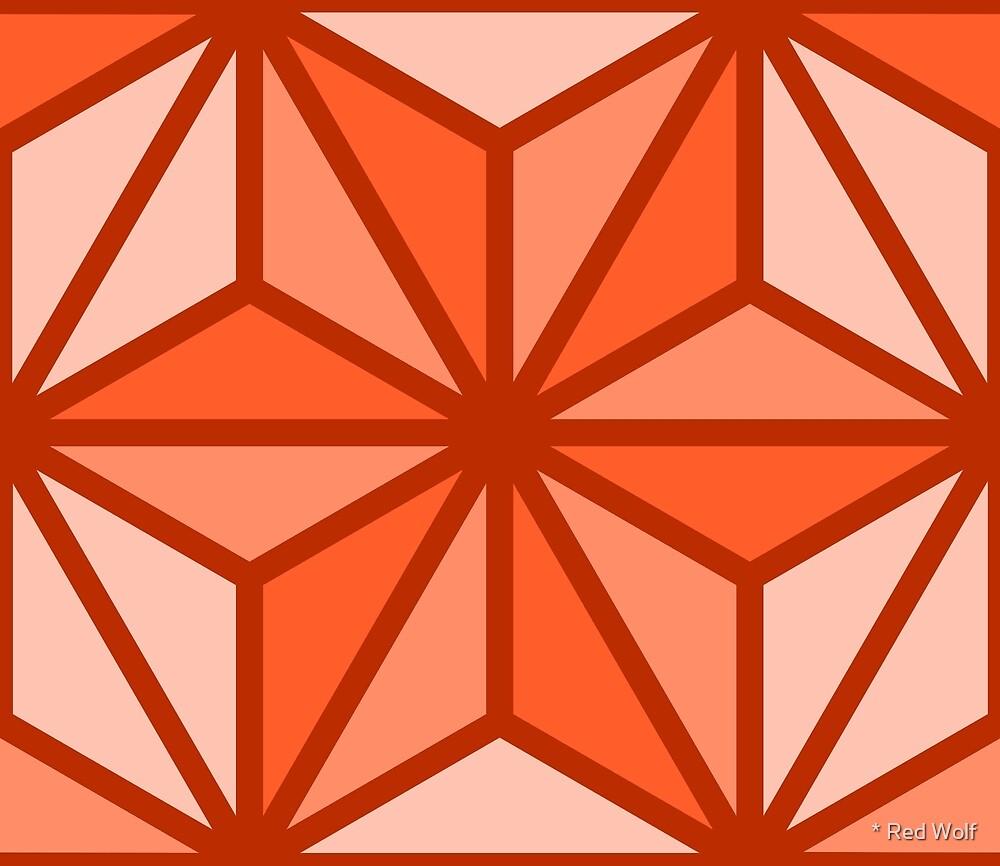 Geometric Pattern: Art Deco Star: Orange by * Red Wolf