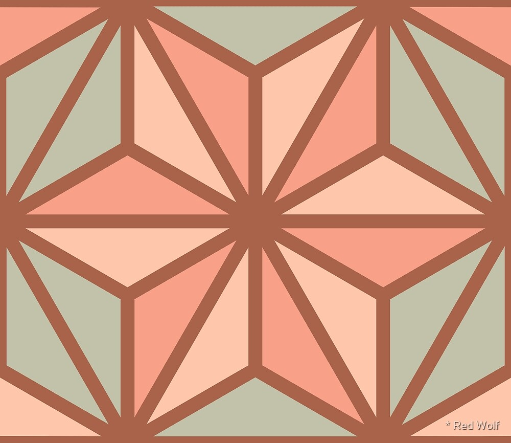 Geometric Pattern: Art Deco Star: Salmon by * Red Wolf