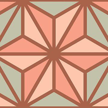 Geometric Pattern: Art Deco Star: Salmon by redwolfoz