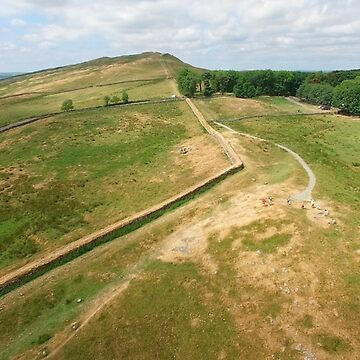 Aerial view of Hadrian's Wall at Steel Rig Northumberland England UK by emergentdesigns