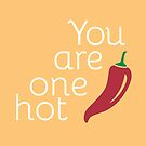 You Are One Hot Pepper - Food Pun - Punny Love Romantic Card by yayandrea