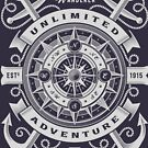 Sea Wanderer Unlimited Adventure T-shirt by artbaggage