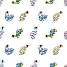 Tommy Turtle Tortoise Repeating Pattern Cartoon Fun! by Shelly Still