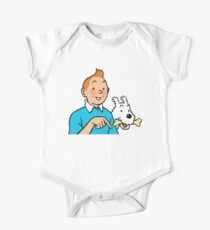 Tintin and Snowy 2 Baby Body Kurzarm