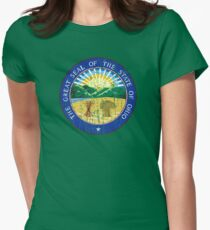 OHIO STATE SEAL - POPULAR DISTRESSED STATE DESIGN WITH OHIO STATE SEAL Women's Fitted T-Shirt