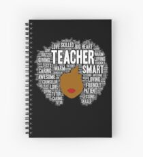 African American Teacher Afro Typography Word Art Spiral Notebook