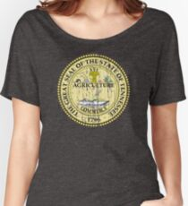 TENNESSEE STATE SEAL - POPULAR DISTRESSED STATE DESIGN WITH TENNESSEE STATE SEAL Women's Relaxed Fit T-Shirt