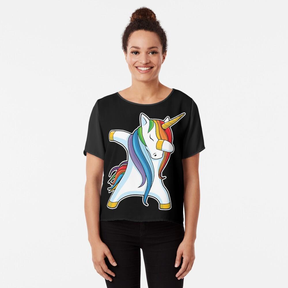 Dabbing Unicorn Shirt Cute Funny Unicorns T shirt Gifts for Kids Girls Boys Women Men Chiffon Top