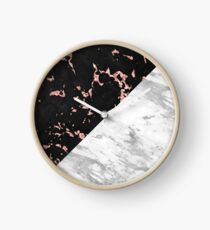 White and black faux marble geometric design Clock